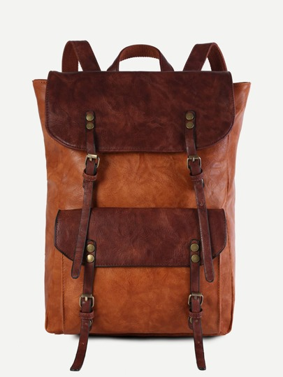 Brown Faux Leather Buckle Strap Flap Pocket Backpack