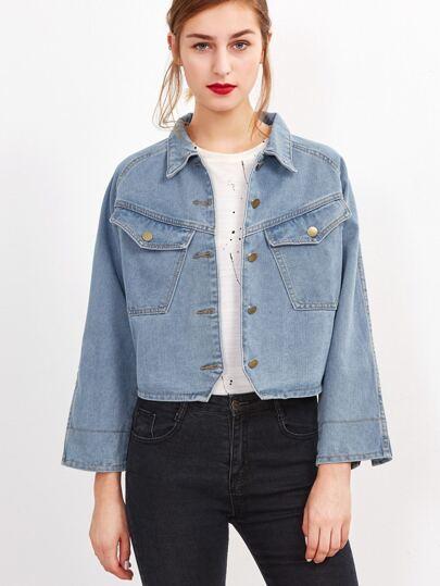 Blue Raglan Sleeve Crop Denim Jacket