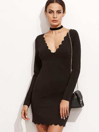 Black Scallop Trim Double V Neck Bodycon Dress