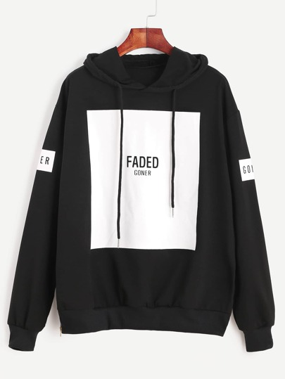 Black Letter Print Drawstring Hooded Sweatshirt With Zip