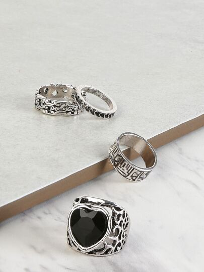 Faux Stone Heart Ring Set SILVER