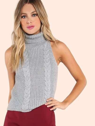 Sleeveless Turtleneck Knit Top HEATHER GREY