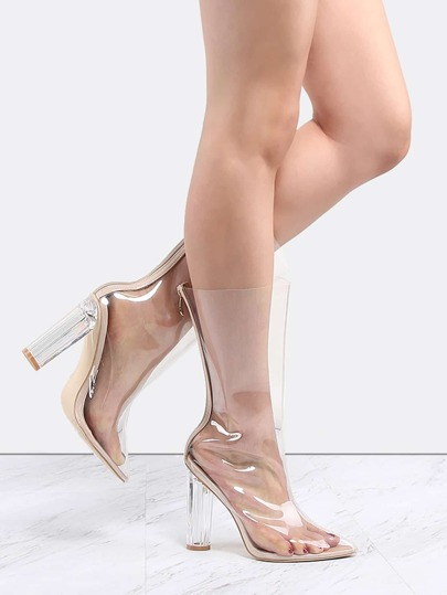 Pointy Toe Perspex Transparent Boots CLEAR