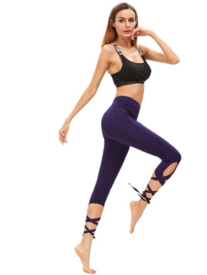 Dark Purple Hollow Tie Skinny Leggings
