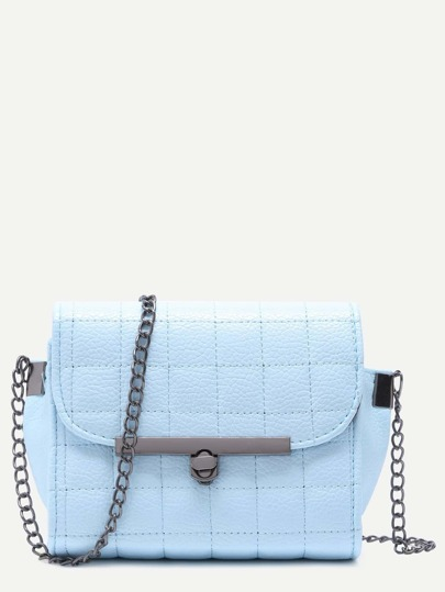 Blue Quilted PU Flap Crossbody Chain Bag