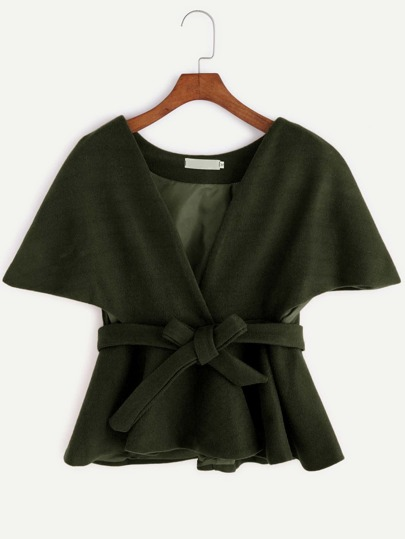 Army Green Self Tie Cape Coat