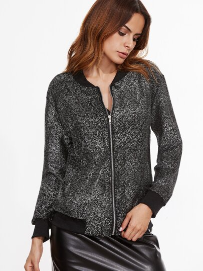 Contrast Ribbed Trim Sequin Jacket