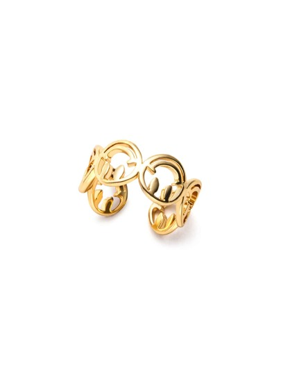 Gold Plated Smiley Face Hollow Out Wrap Ring