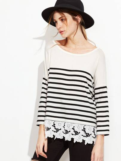 Striped Floral Crochet Trim T-shirt