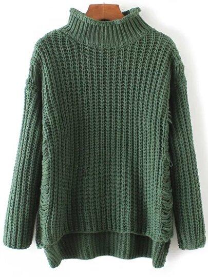 Green Ripped Turtleneck Dip Hem Sweater
