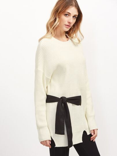 Beige Drop Shoulder Seam Tie Detail Split Sweater