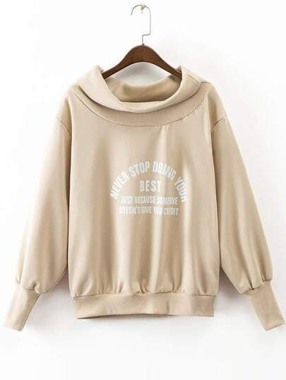 Khaki Letter Print Boat Neck Sweatshirt