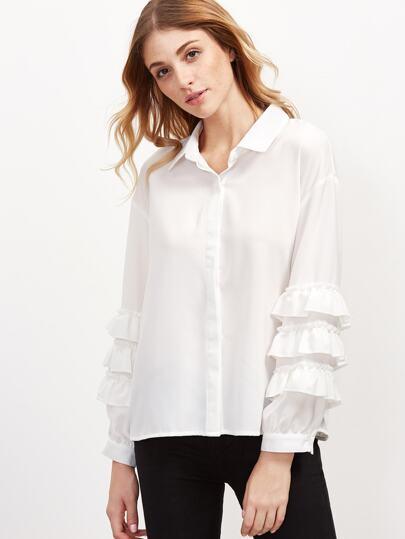 White Sharp Collar Ruffle Sleeve Blouse