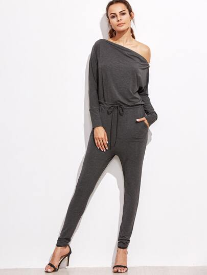Heather Grey Zip Trim Asymmetric Shoulder Sweat Jumpsuit