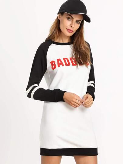 Contrast Letter Print Striped Raglan Sleeve Sweatshirt Dress