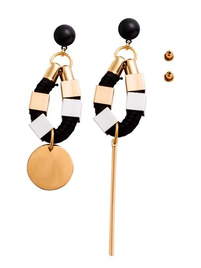 Gold Plated Coin Bar Braided Cord Asymmetrical Earrings
