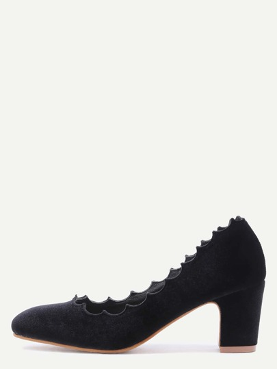 Black Velvet Almond Toe Irregular Edge Chunky Heels