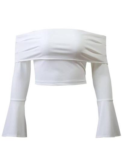 White Off The Shoulder Bell Sleeve Zipper Crop Top