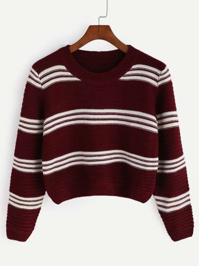 Burgundy Striped Crop Pullover Sweater
