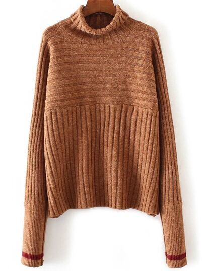 Khaki Turtleneck Contrast Cuff Ribbed Sweater