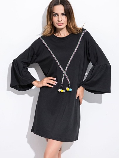 Black Bell Sleeve Pom Pom Trim Dress