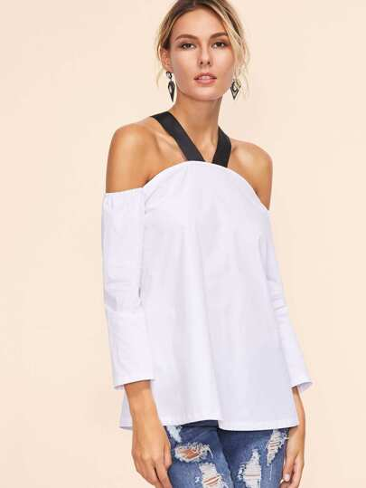 White Contrast Strap Cold Shoulder Top