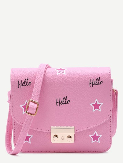 Pink PU Stars Printed Flap Crossbody