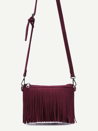 Burgundy Nubuck Leather Fringe Zip Closure Crossbody Bag