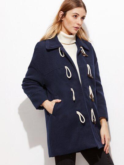 Royal Blue Wool Blend Duffle Coat