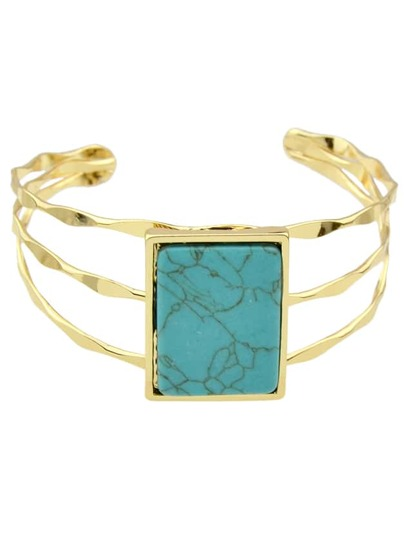 Blue Bohemian Style Imitation Turquoise Wide Cuff Bangle