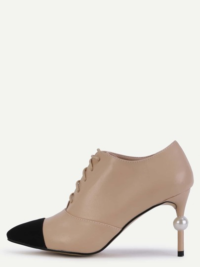 Apricot Cap Toe Faux Pearl Lace Up Pumps