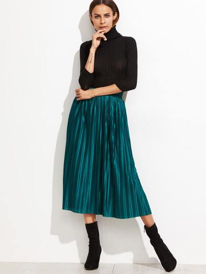 Peacock Green Elastic Waist Pleated Skirt