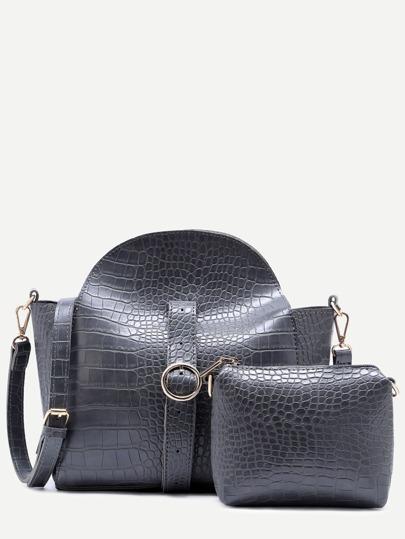 Grey Croc Embossed PU Buckle Strap Shoulder Bag Set