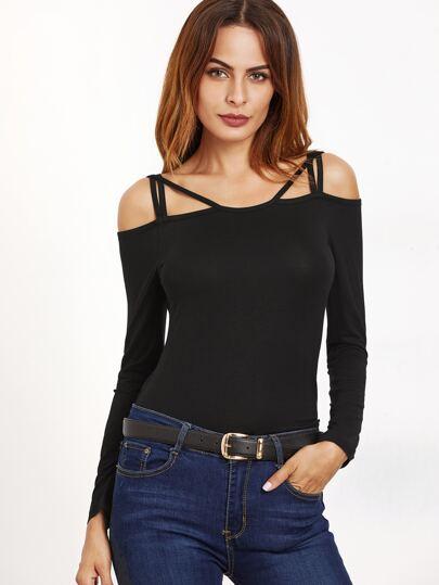 Black Strappy Cold Shoulder Slim Fit T-shirt