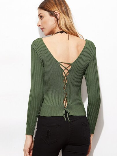 Army Green Double V Neck Lace Up Back Sweater