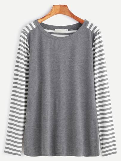 T-shirt à rayure contrasté avec patch - gris