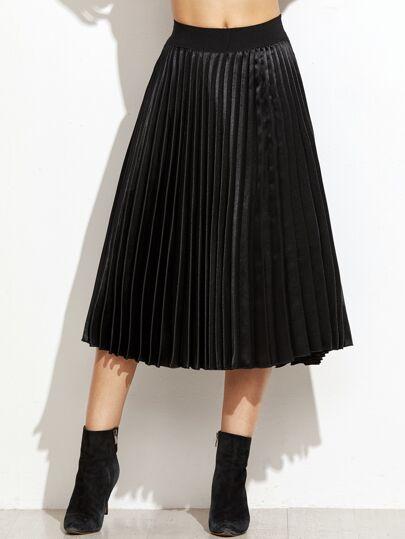 Elastische Taille Faltenrock -schwarz