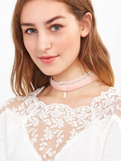 Pink Faux Pearl Velvet Lace Layered Choker Necklace
