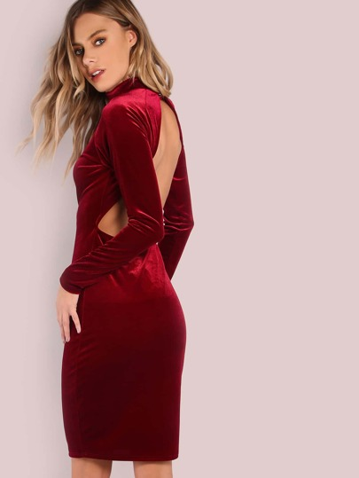 Backless Mockneck Velvet Midi Dress WINE