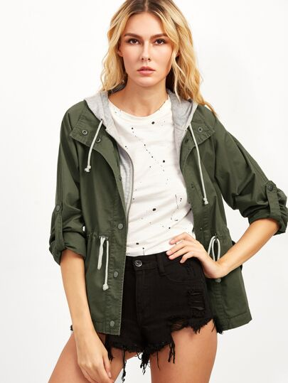 Olive Green Hooded Drawstring 2 In 1 Utility Jacket