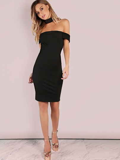 Thick Choker Neck Bardot Mini Bodycon Dress BLACK