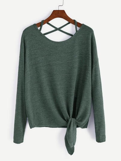 Dark Green Drop Shoulder Criss Cross Tie Front T-Shirt