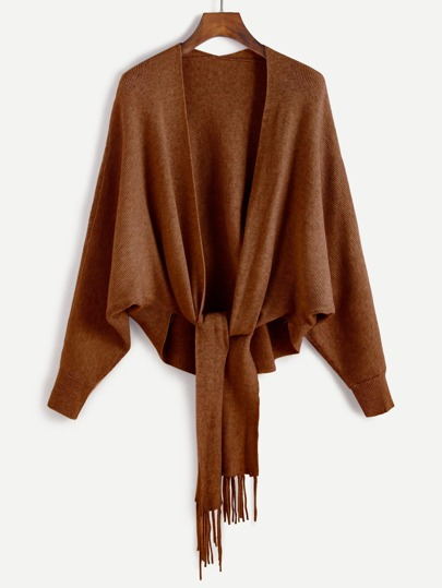 Khaki Batwing Sleeve Fringe Trim Sweater Coat