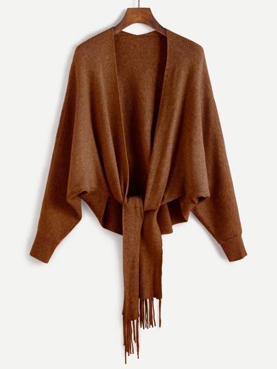 Veste pull manche chauve-souris avec frange - kaki
