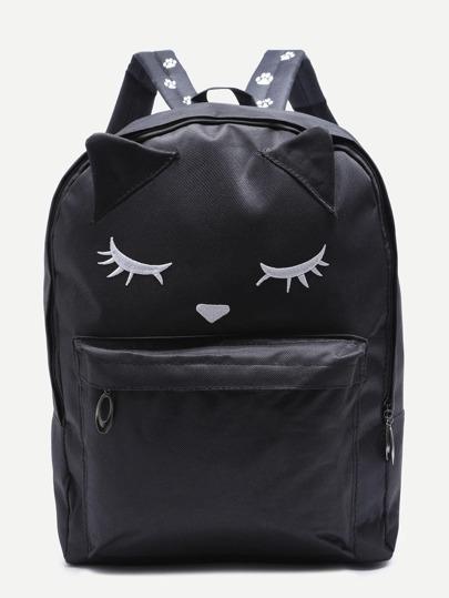 Чёрный нейлоновый рюкзак с карманом с симпатиной лисой