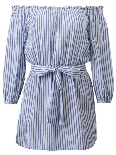 Blue Vertical Striped Off The Shoulder Dress With Tie