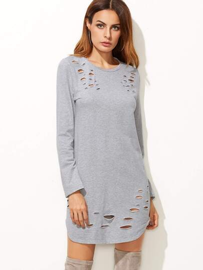 Heather Grey Ripped Curved Hem Tee Dress