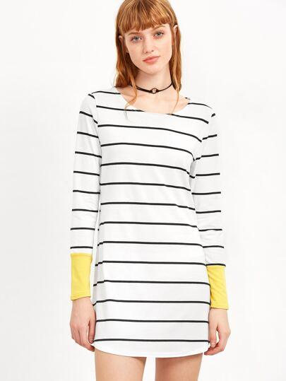 Contrast Cuff Striped Tee Dress