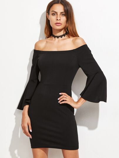 Black Off The Shoulder Bell Sleeve Bodycon Dress