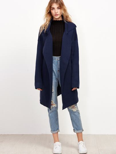 Navy Notch Collar Drop Shoulder Sweater Coat